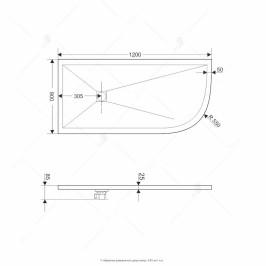 Душевой поддон ассиметричный RGW ST/AL-W